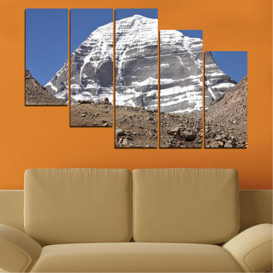Canvas prints & wall decorative panels - 5 pieces №0184 » Blue, Gray, White, Dark grey » Nature, Mountain, Landmark, Kailash, Buddha Form #7