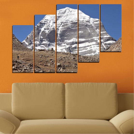 Canvas prints & wall decorative panels - 5 pieces №0184 » Blue, Gray, White, Dark grey » Nature, Mountain, Landmark, Kailash, Buddha Form #8