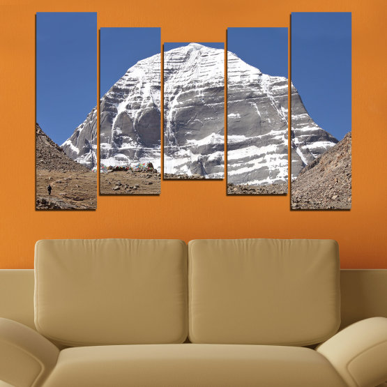 Canvas prints & wall decorative panels - 5 pieces №0184 » Blue, Gray, White, Dark grey » Nature, Mountain, Landmark, Kailash, Buddha Form #4