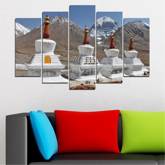 Εκτύπωση σε καμβά και διακοσμητικά πάνελ τοίχου - 5 τεμάχια №0185 » Μωβ, Καστανός, Γκρί, Σκούρο γκρι » Βουνό, Ορόσημο, Θιβέτ, Kailash, Stupas, Βούδας, Άγαλμα Form #1