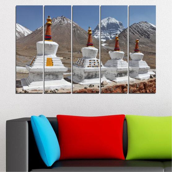 Εκτύπωση σε καμβά και διακοσμητικά πάνελ τοίχου - 5 τεμάχια №0185 » Μωβ, Καστανός, Γκρί, Σκούρο γκρι » Βουνό, Ορόσημο, Θιβέτ, Kailash, Stupas, Βούδας, Άγαλμα Form #2