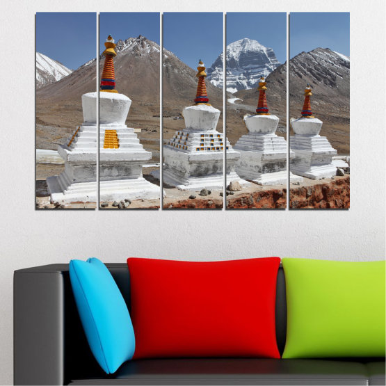 Canvas prints & wall decorative panels - 5 pieces №0185 » Purple, Brown, Gray, Dark grey » Mountain, Landmark, Tibet, Kailash, Stupas, Buddha, Statue Form #2