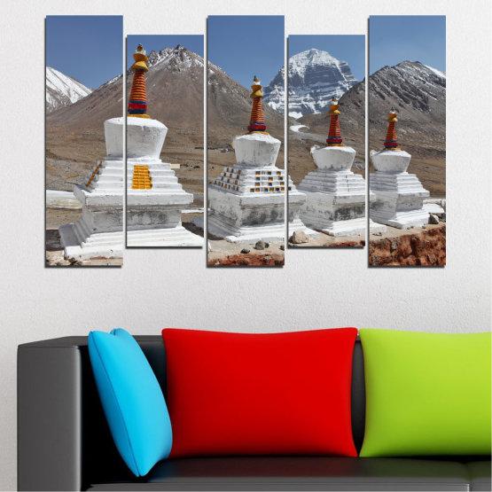 Εκτύπωση σε καμβά και διακοσμητικά πάνελ τοίχου - 5 τεμάχια №0185 » Μωβ, Καστανός, Γκρί, Σκούρο γκρι » Βουνό, Ορόσημο, Θιβέτ, Kailash, Stupas, Βούδας, Άγαλμα Form #3