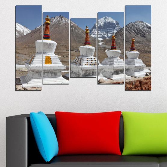 Εκτύπωση σε καμβά και διακοσμητικά πάνελ τοίχου - 5 τεμάχια №0185 » Μωβ, Καστανός, Γκρί, Σκούρο γκρι » Βουνό, Ορόσημο, Θιβέτ, Kailash, Stupas, Βούδας, Άγαλμα Form #4