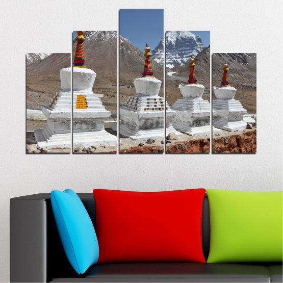 Εκτύπωση σε καμβά και διακοσμητικά πάνελ τοίχου - 5 τεμάχια №0185 » Μωβ, Καστανός, Γκρί, Σκούρο γκρι » Βουνό, Ορόσημο, Θιβέτ, Kailash, Stupas, Βούδας, Άγαλμα Form #5