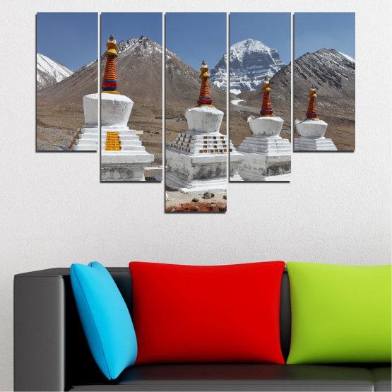 Εκτύπωση σε καμβά και διακοσμητικά πάνελ τοίχου - 5 τεμάχια №0185 » Μωβ, Καστανός, Γκρί, Σκούρο γκρι » Βουνό, Ορόσημο, Θιβέτ, Kailash, Stupas, Βούδας, Άγαλμα Form #6