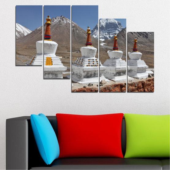 Εκτύπωση σε καμβά και διακοσμητικά πάνελ τοίχου - 5 τεμάχια №0185 » Μωβ, Καστανός, Γκρί, Σκούρο γκρι » Βουνό, Ορόσημο, Θιβέτ, Kailash, Stupas, Βούδας, Άγαλμα Form #7