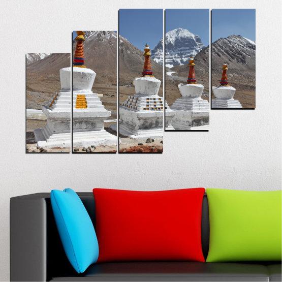 Εκτύπωση σε καμβά και διακοσμητικά πάνελ τοίχου - 5 τεμάχια №0185 » Μωβ, Καστανός, Γκρί, Σκούρο γκρι » Βουνό, Ορόσημο, Θιβέτ, Kailash, Stupas, Βούδας, Άγαλμα Form #8