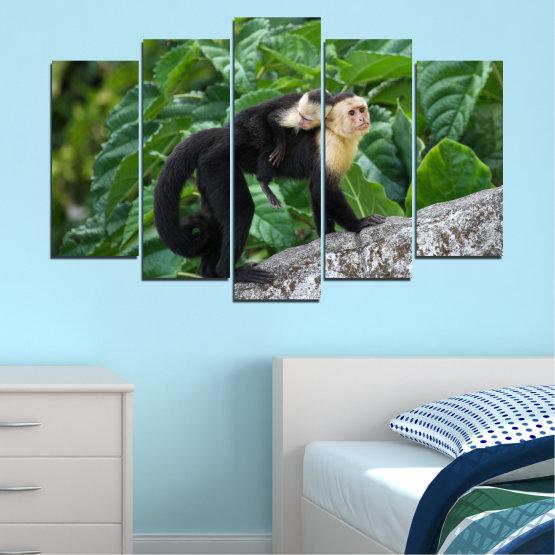 Canvas prints & wall decorative panels - 5 pieces №0186 » Green, Black, Gray, Dark grey » Nature, Animal, Monkey Form #1