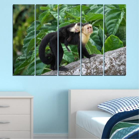 Canvas prints & wall decorative panels - 5 pieces №0186 » Green, Black, Gray, Dark grey » Nature, Animal, Monkey Form #2