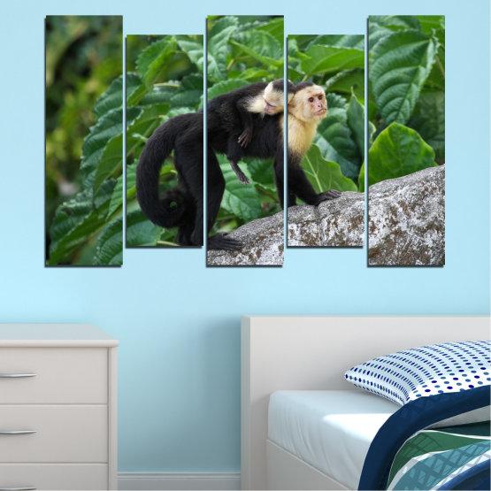 Canvas prints & wall decorative panels - 5 pieces №0186 » Green, Black, Gray, Dark grey » Nature, Animal, Monkey Form #3