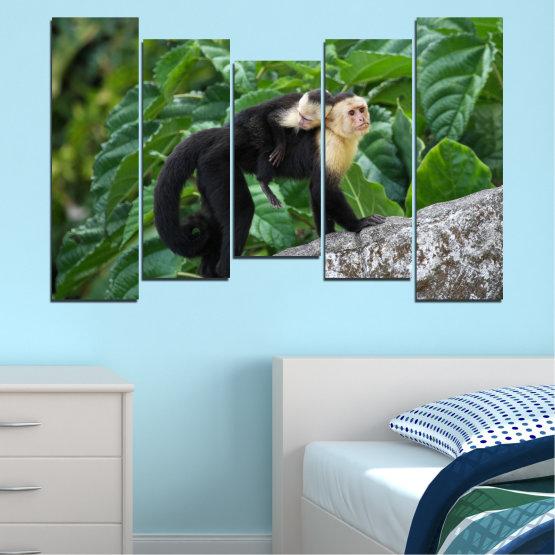 Canvas prints & wall decorative panels - 5 pieces №0186 » Green, Black, Gray, Dark grey » Nature, Animal, Monkey Form #4