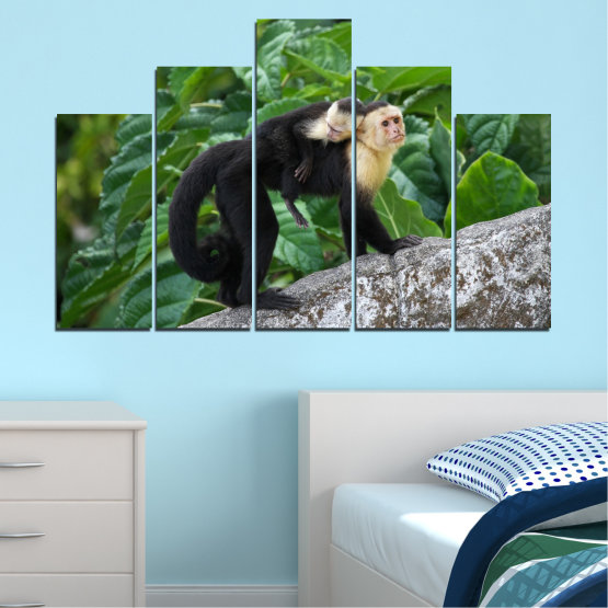 Canvas prints & wall decorative panels - 5 pieces №0186 » Green, Black, Gray, Dark grey » Nature, Animal, Monkey Form #5