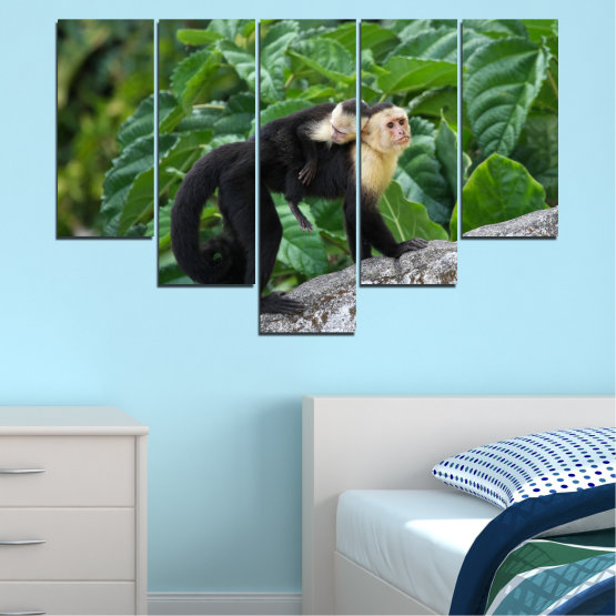 Canvas prints & wall decorative panels - 5 pieces №0186 » Green, Black, Gray, Dark grey » Nature, Animal, Monkey Form #6