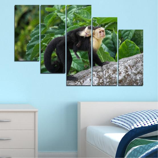 Canvas prints & wall decorative panels - 5 pieces №0186 » Green, Black, Gray, Dark grey » Nature, Animal, Monkey Form #7