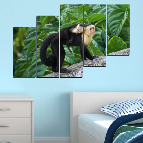 Canvas prints & wall decorative panels - 5 pieces №0186 » Green, Black, Gray, Dark grey » Nature, Animal, Monkey Form #8