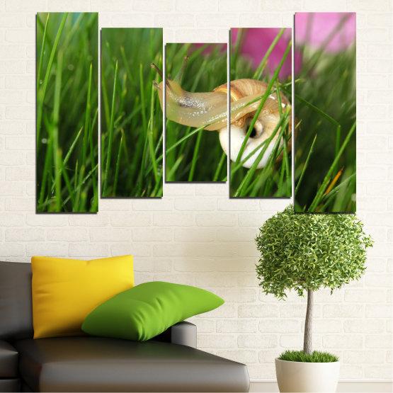 Εκτύπωση σε καμβά και διακοσμητικά πάνελ τοίχου - 5 τεμάχια №0187 » Ροζ, Πράσινος, Καστανός, Μαύρος, Γκρί, Μπεζ, Γαλακτώδες ροζ » Χλωρίδα, Κήπος, Γρασίδι, Σαλιγκάρι Form #4