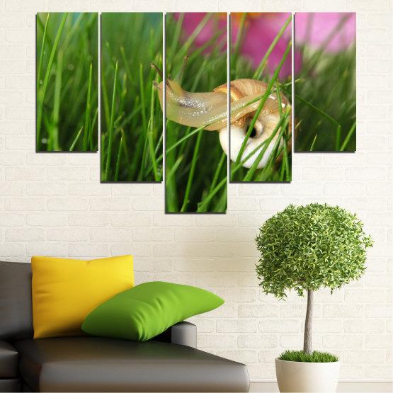 Εκτύπωση σε καμβά και διακοσμητικά πάνελ τοίχου - 5 τεμάχια №0187 » Ροζ, Πράσινος, Καστανός, Μαύρος, Γκρί, Μπεζ, Γαλακτώδες ροζ » Χλωρίδα, Κήπος, Γρασίδι, Σαλιγκάρι Form #6