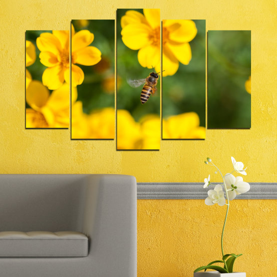 Canvas prints & wall decorative panels - 5 pieces №0188 » Green, Yellow, Orange, Brown » Flowers, Nature, Garden Form #1