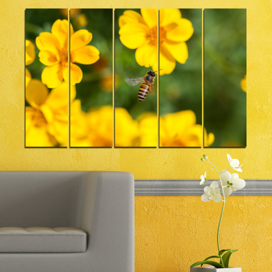 Canvas prints & wall decorative panels - 5 pieces №0188 » Green, Yellow, Orange, Brown » Flowers, Nature, Garden Form #2