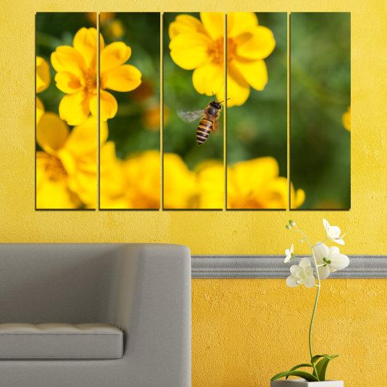 Декоративни панели и картини от канава - от 5 части №0188 » Зелен, Жълт, Оранжев, Кафяв » Природа, Цветя, Градина Form #2