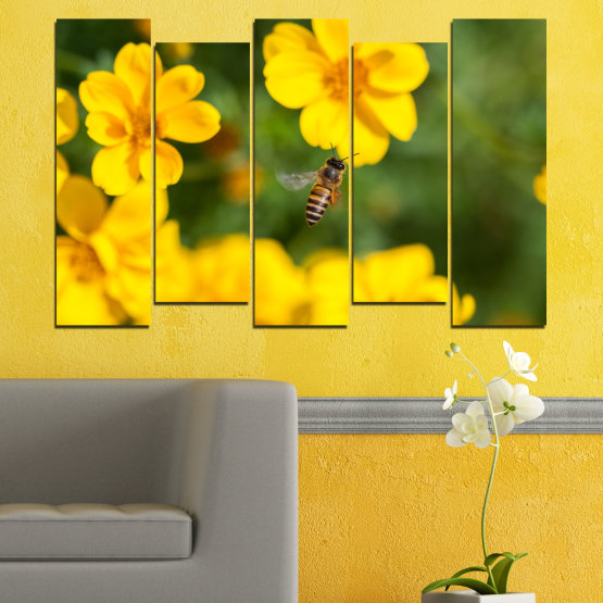 Canvas prints & wall decorative panels - 5 pieces №0188 » Green, Yellow, Orange, Brown » Flowers, Nature, Garden Form #3