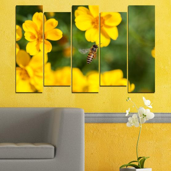Декоративни панели и картини от канава - от 5 части №0188 » Зелен, Жълт, Оранжев, Кафяв » Природа, Цветя, Градина Form #3