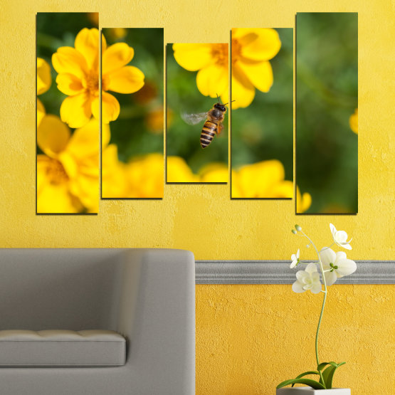 Canvas prints & wall decorative panels - 5 pieces №0188 » Green, Yellow, Orange, Brown » Flowers, Nature, Garden Form #4