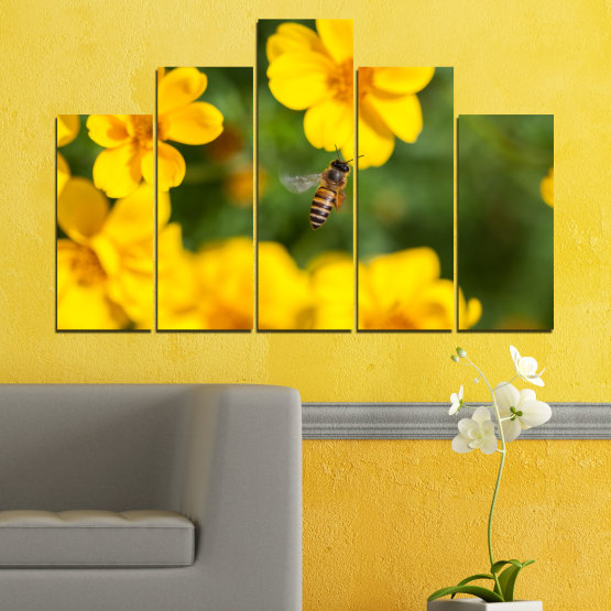 Canvas prints & wall decorative panels - 5 pieces №0188 » Green, Yellow, Orange, Brown » Flowers, Nature, Garden Form #5
