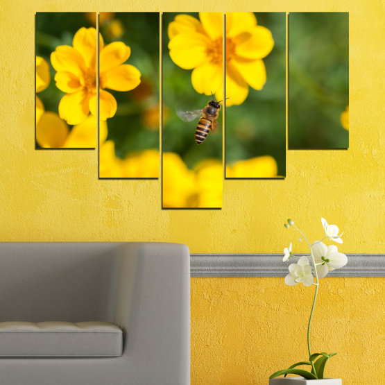 Canvas prints & wall decorative panels - 5 pieces №0188 » Green, Yellow, Orange, Brown » Flowers, Nature, Garden Form #6