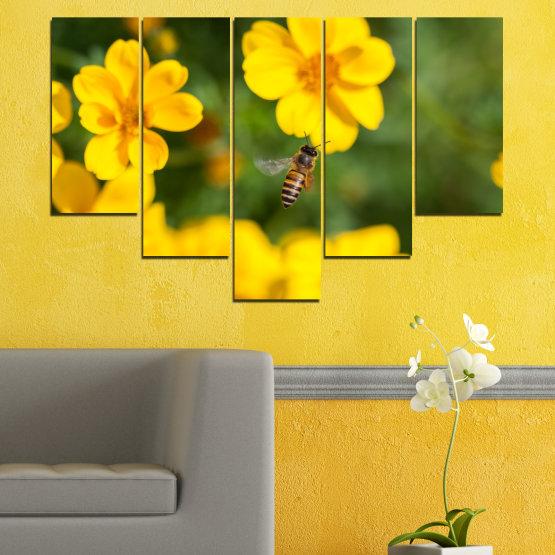 Декоративни панели и картини от канава - от 5 части №0188 » Зелен, Жълт, Оранжев, Кафяв » Природа, Цветя, Градина Form #6