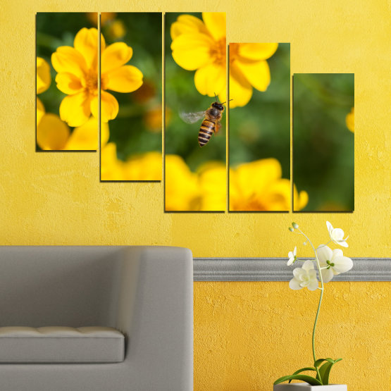 Canvas prints & wall decorative panels - 5 pieces №0188 » Green, Yellow, Orange, Brown » Flowers, Nature, Garden Form #7