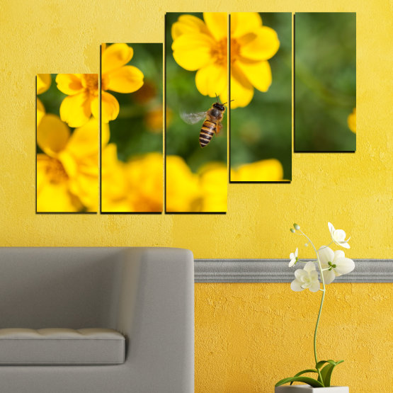 Canvas prints & wall decorative panels - 5 pieces №0188 » Green, Yellow, Orange, Brown » Flowers, Nature, Garden Form #8