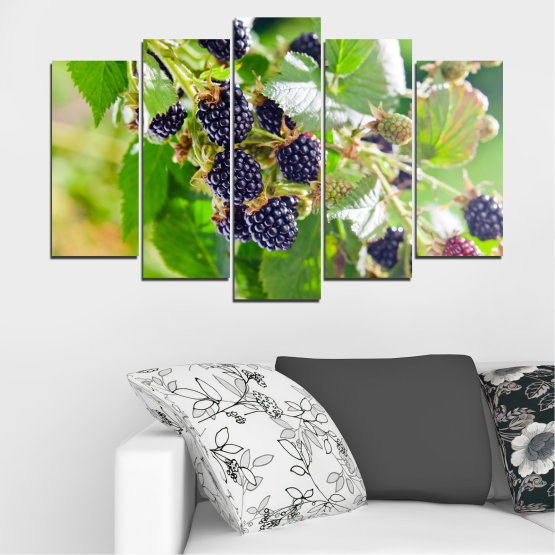 Canvas prints & wall decorative panels - 5 pieces №0189 » Purple, Green, Gray, Beige » Nature, Fruits, Blackberries Form #1