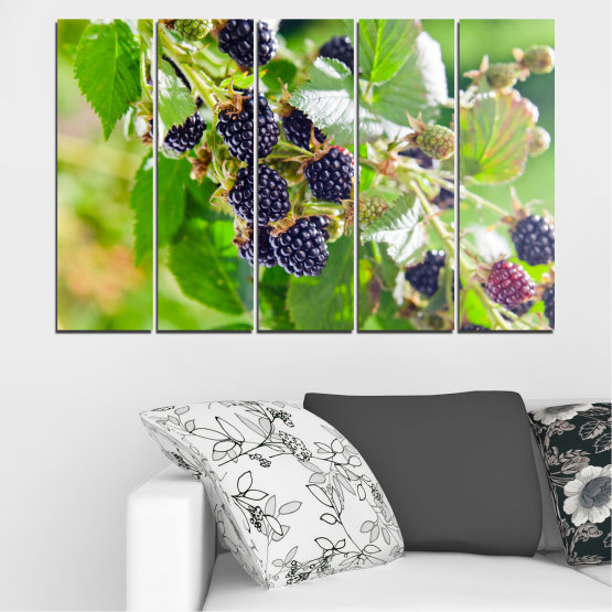 Canvas prints & wall decorative panels - 5 pieces №0189 » Purple, Green, Gray, Beige » Nature, Fruits, Blackberries Form #2
