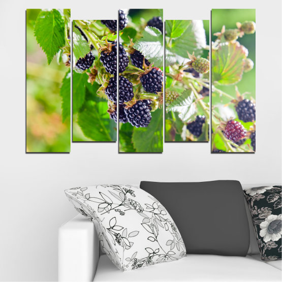Canvas prints & wall decorative panels - 5 pieces №0189 » Purple, Green, Gray, Beige » Nature, Fruits, Blackberries Form #3