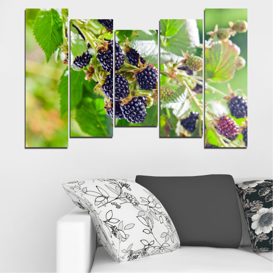 Canvas prints & wall decorative panels - 5 pieces №0189 » Purple, Green, Gray, Beige » Nature, Fruits, Blackberries Form #4