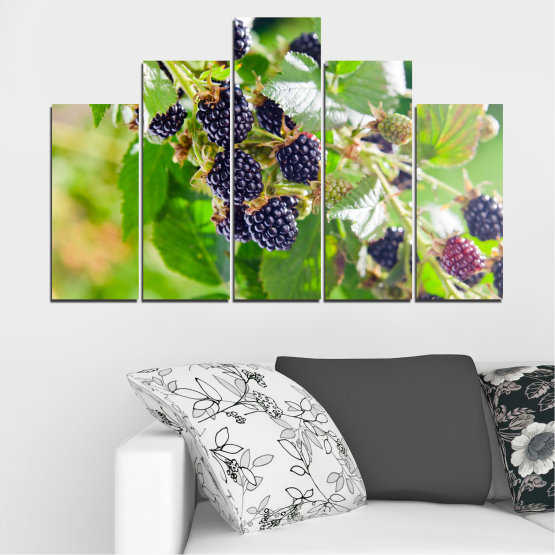Canvas prints & wall decorative panels - 5 pieces №0189 » Purple, Green, Gray, Beige » Nature, Fruits, Blackberries Form #5