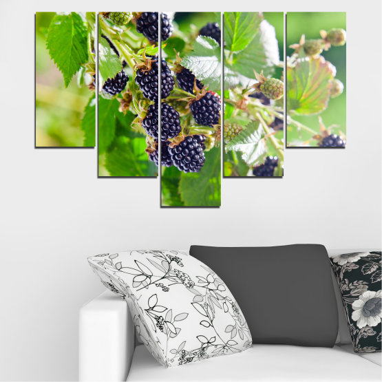 Canvas prints & wall decorative panels - 5 pieces №0189 » Purple, Green, Gray, Beige » Nature, Fruits, Blackberries Form #6