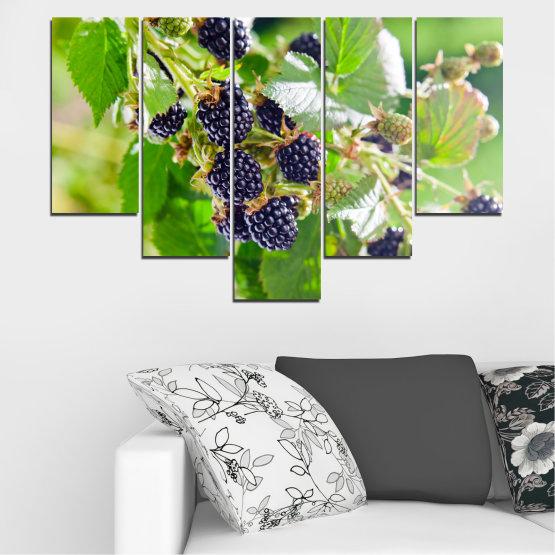 Canvas prints & wall decorative panels - 5 pieces №0189 » Purple, Green, Gray, Beige » Nature, Fruits, Blackberries Form #6