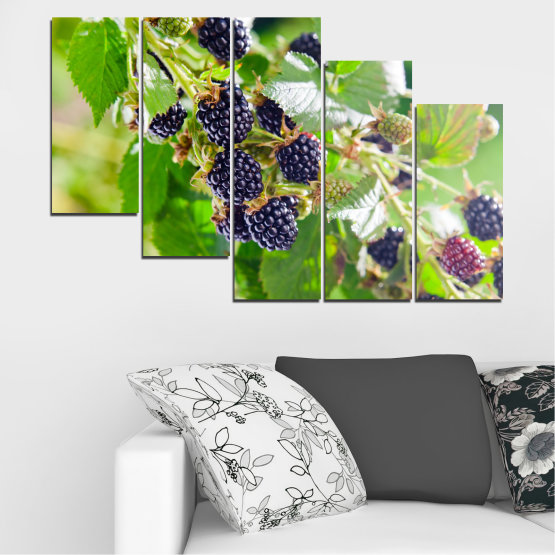 Canvas prints & wall decorative panels - 5 pieces №0189 » Purple, Green, Gray, Beige » Nature, Fruits, Blackberries Form #7