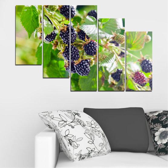 Canvas prints & wall decorative panels - 5 pieces №0189 » Purple, Green, Gray, Beige » Nature, Fruits, Blackberries Form #7