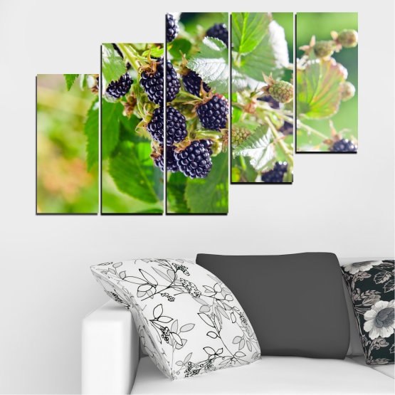Canvas prints & wall decorative panels - 5 pieces №0189 » Purple, Green, Gray, Beige » Nature, Fruits, Blackberries Form #8