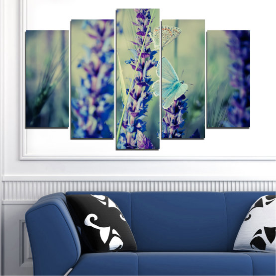 Canvas prints & wall decorative panels - 5 pieces №0190 » Purple, Blue, Black, Gray, Dark grey » Flowers, Nature, Butterfly, Lavender Form #1