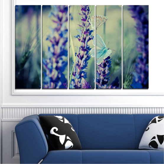 Canvas prints & wall decorative panels - 5 pieces №0190 » Purple, Blue, Black, Gray, Dark grey » Flowers, Nature, Butterfly, Lavender Form #2