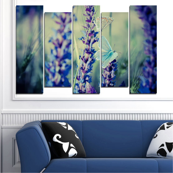 Canvas prints & wall decorative panels - 5 pieces №0190 » Purple, Blue, Black, Gray, Dark grey » Flowers, Nature, Butterfly, Lavender Form #3