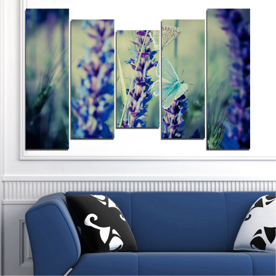 Canvas prints & wall decorative panels - 5 pieces №0190 » Purple, Blue, Black, Gray, Dark grey » Flowers, Nature, Butterfly, Lavender Form #4