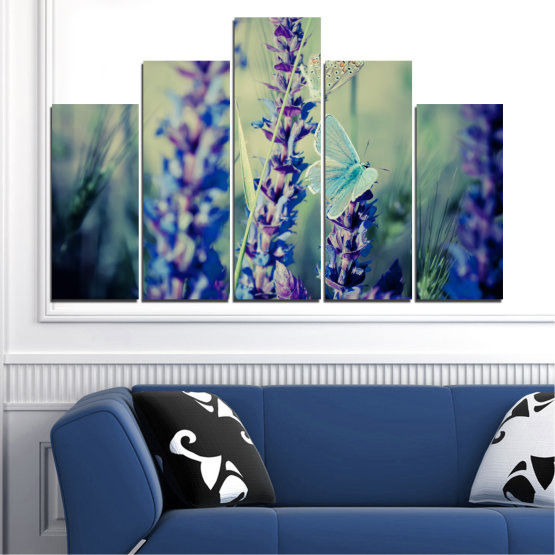 Canvas prints & wall decorative panels - 5 pieces №0190 » Purple, Blue, Black, Gray, Dark grey » Nature, Flowers, Butterfly, Lavender Form #5