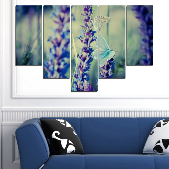 Canvas prints & wall decorative panels - 5 pieces №0190 » Purple, Blue, Black, Gray, Dark grey » Flowers, Nature, Butterfly, Lavender Form #6