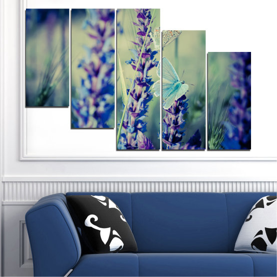 Canvas prints & wall decorative panels - 5 pieces №0190 » Purple, Blue, Black, Gray, Dark grey » Flowers, Nature, Butterfly, Lavender Form #7